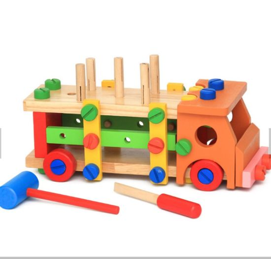 Wooden Disassemble Table Games Knock on The Ball Screw Assembly Game Tool Car