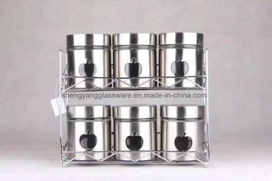 Factory Price Glass Salt and Pepper Shakers Glass Spice Jar with Shelf