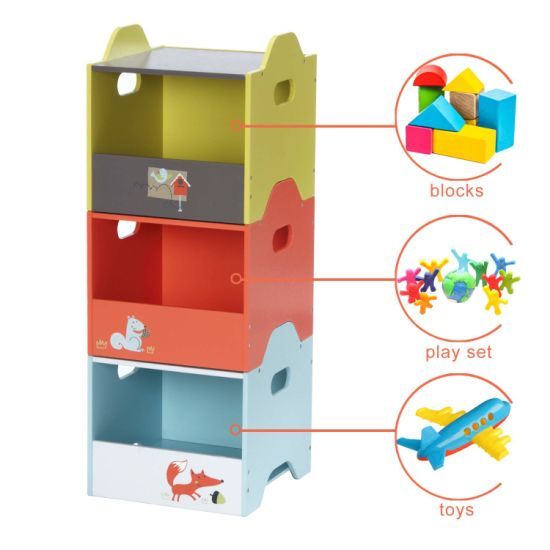 Labebe Wooden Toy Storage Bin, 3-Color Combined Stackable Fox Toy Bin, Open Door Baby Toy Chest with 3 Layers for Baby, Toy Storage Box/Kid Toy Box Set/Colorful pictures & photos
