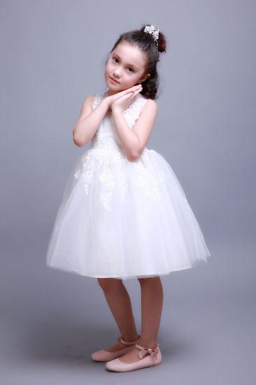 Girls White Embroidered Lace Princess Wedding Fashion Dress