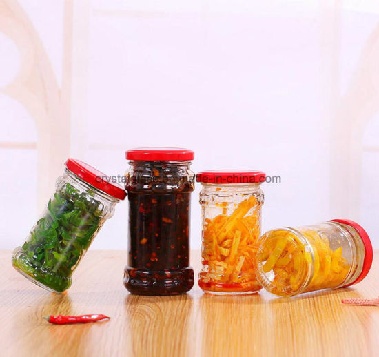 Round Pickles Glass Food Storage Jars With Red Lid Free Samples