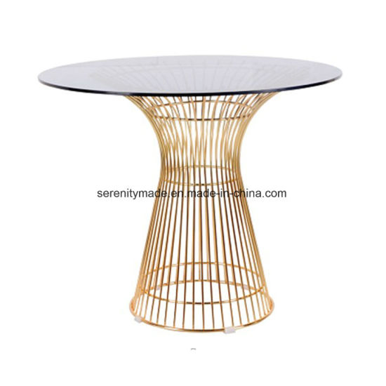 Loft Style Outdoor Gold Base Glass Top Bar Height Dining Table