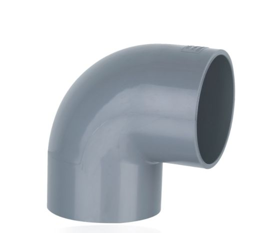 PVC 90 Degree Equal Elbow DIN Standard PN10 Water Supply Pressure Pipe Fittings in Light Grey Color (G05)