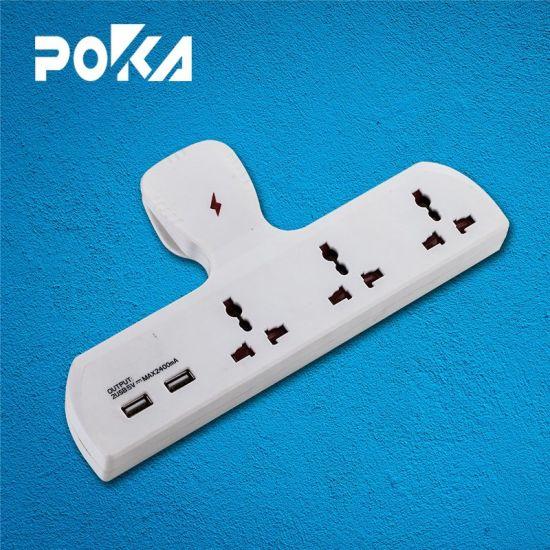 Poka T-Type Multi Socket USB Charger Adapter Plug 2.1A
