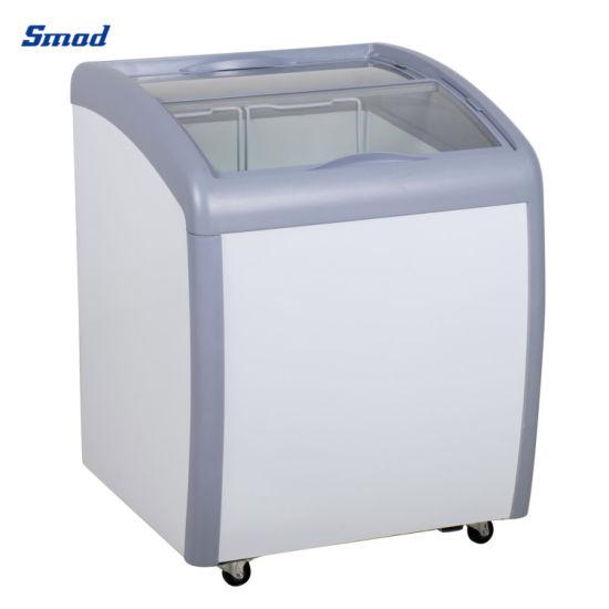 110V 60Hz 5.7 Cuft Curved Sliding Glass Top Ice Cream Freezer for USA