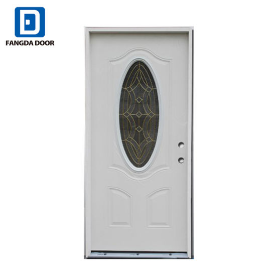 Small Oval Tempered Gl Primed White Steel Prehung Exterior Entry Door With Wooden Frame