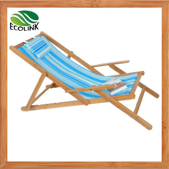 Outdoor Furniture Bamboo Foldable Sun Lounger Beach Chair for Hotel/ Garden