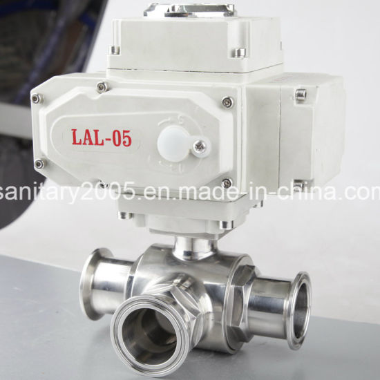 Ss316L Electric Triclamp 3 Piece Ball Valve for Food Beverage Industry pictures & photos