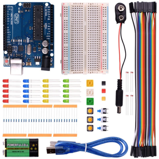 Smart Electronics Starter Kit for Arduinos Uno R3 Mini Breadboard LED Jumper Wire Button