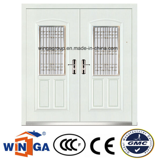 White Color Decorative Entrance Steel Security Metal Door (W-SZ-03) pictures & photos