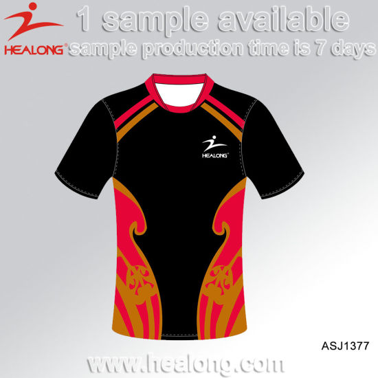 Healong Men Fully Sublimation Custom Design Polyester Rugby Jersey pictures & photos