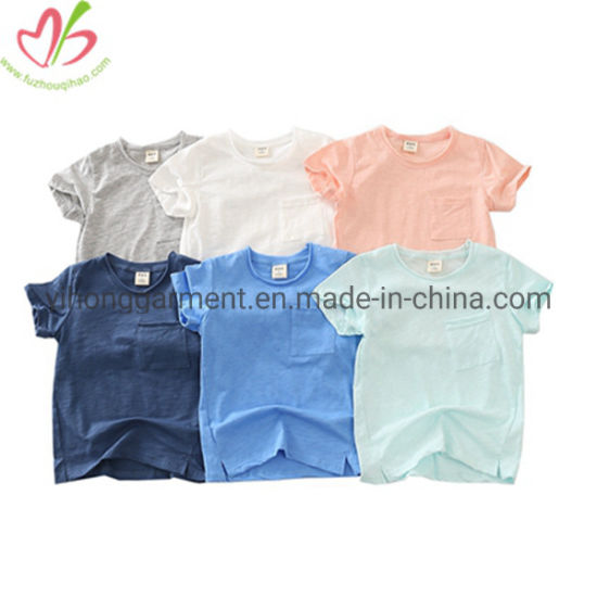 Solid Color Jersey Cotton Blank Little Boy Sport Shirts