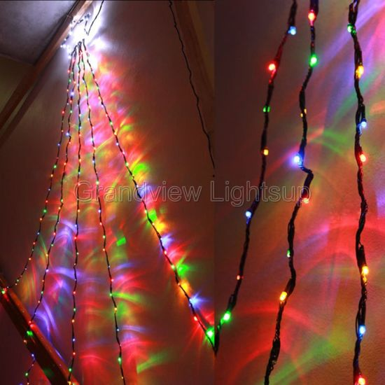 24m clear wire multi colour led waterfall lights