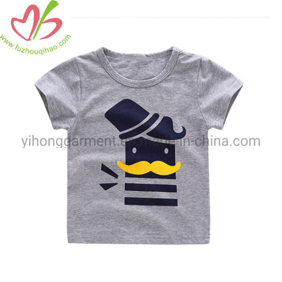Summer Cotton Short Sleeves Boy Shirt with Custom Printing