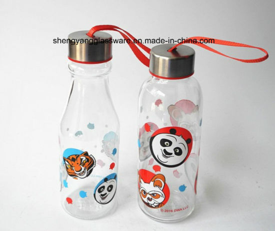 Hot Sell Easy to Carry Food Grade Child Glass Water Bottle with Seal Metal Lid pictures & photos