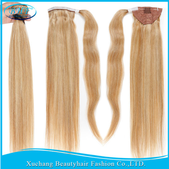 Clip In Human Hair Ponytail Wrap Extension 24 Inch Straight Copper Red