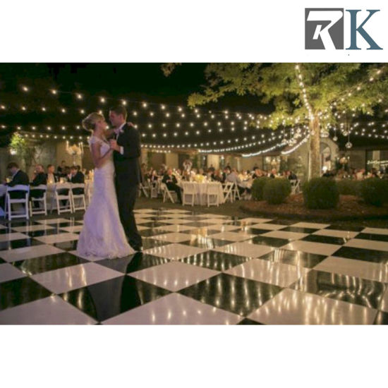 White Black and Malnut Color Wooden Dance Floor for Wedding
