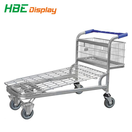 Supermarket Shopping Cart, Logistics Cargo Flat Trolley pictures & photos