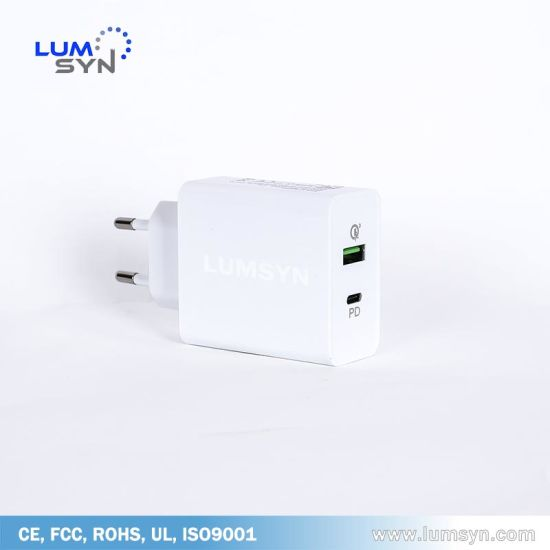 Factory Mobile Charger Direct QC3.0 & Pd Dual Ports 36W Quick Charger for Europe & America USB Charger