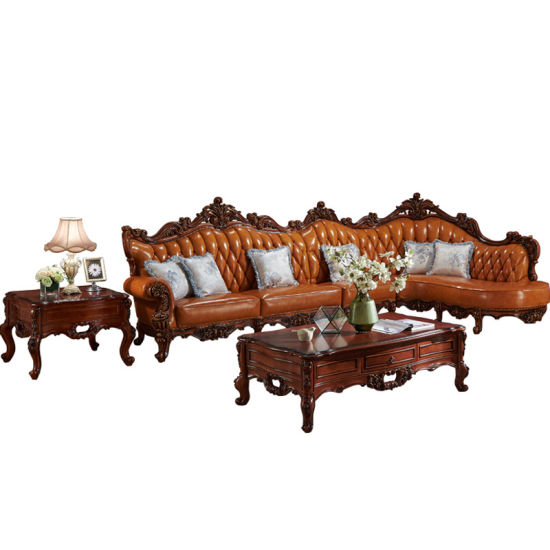Wood Leather Corner Sofa for Living Room Furniture (802) pictures & photos