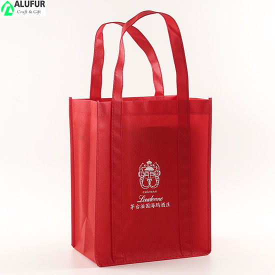 2/4/6 Bottle of Wine Nonwoven Carrier Tote Bag with Divider