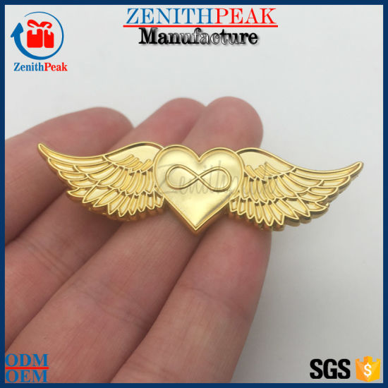 Superior Custom 3D 2D Heart Shape Pilot Wings Lapel Pin