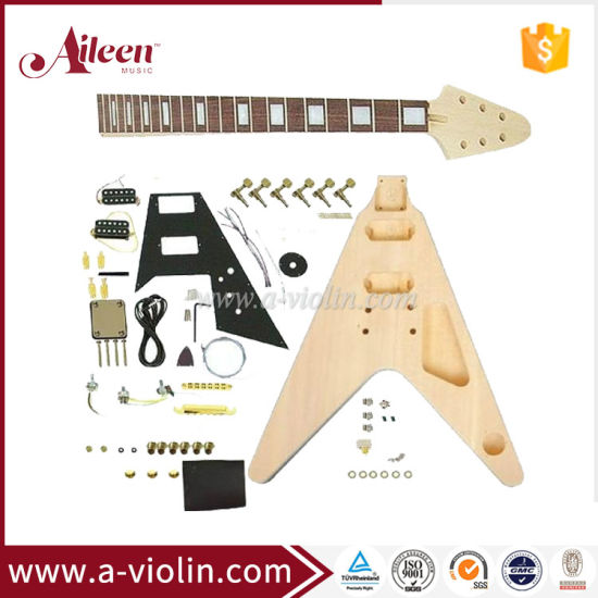 China Flying V Style Unfinished DIY Electric Guitar Kits (EGH600-W