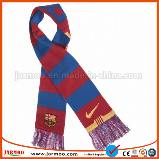 China Hot Sale Stripes Warm Football Fan Knitted Scarf China