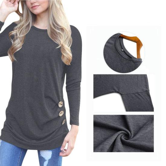 Womens Casual Long Sleeve Side Button Blouse T-Shirt Esg10442