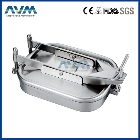 Stainless Steel Sanitary High Pressure Manway Door Manhole Cover with Full Glass for Tank