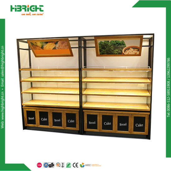Bread Showcase Cabinet Bakery Display Cake Rack Wooden Bread Shelf