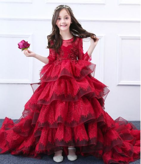 99cbb31ba China Puffy Girls Wedding Gonws Lace Stage Performance Red 3 4 ...