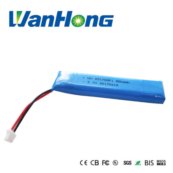 851768pl 850mAh 3.7V Rechargeable Li-Polymer Lithium Ion Battery Pack/Li-ion Battery/Lithium Battery for Speaker/GPS/Mps