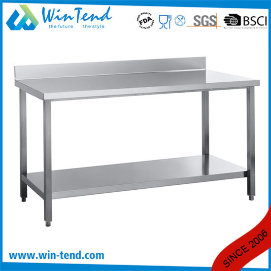 Restaurant Equipment Industrial Stainless Steel Round Tube Adjustable Worktable with EVA Sticker and Reinforcing Bar for Kitchen pictures & photos