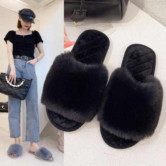 Wholesale House Slippers Soft Slides Sandals Women Plush Slipper Ladies Winter Warm Shoes