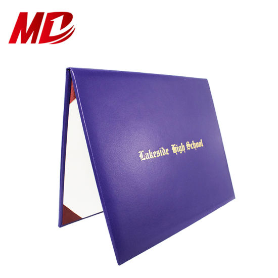 China Purple Smooth Leatherette Graduation Diploma Cover For Graduation China Certificate Holder Diploma Cover