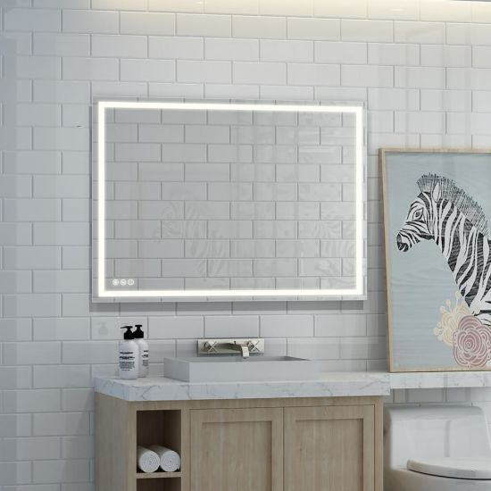 China 48 In X 36 In Led Lighted Single Frameless Bathroom Mirror China Mirror On All Sides Led Cosmetic Mirror