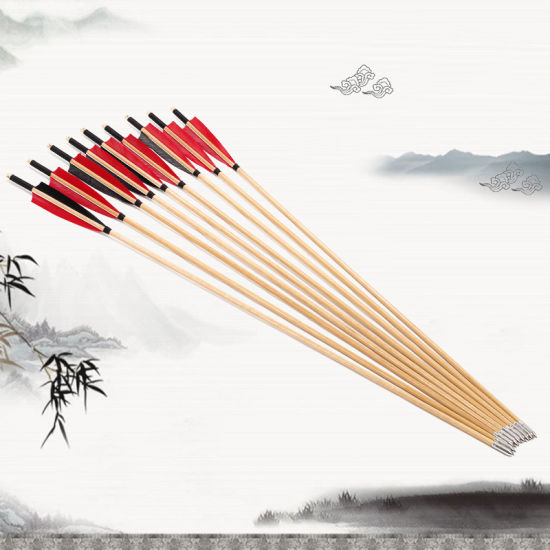 Outdoor Traditional Bow Wooden Arrow with Turkey Feather Arrow Feather Fit for Archery Recurve Bow