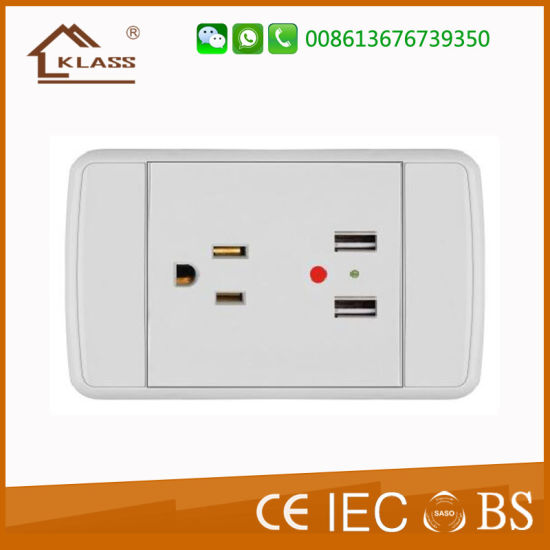 3 Pin USB Wall Sockets Electrical USB Outlets 2.1A