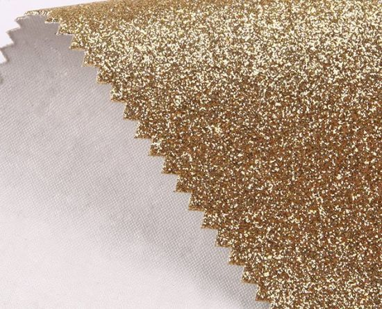 1.0mm Thickness Gold Color Glitter Leatherette Shiny Bright Color Wholesale PU Leather (HS-Y126)