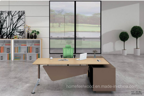 Maple L Shape Office Desk, Modern Office Executive Table (HF-FB016D) pictures & photos