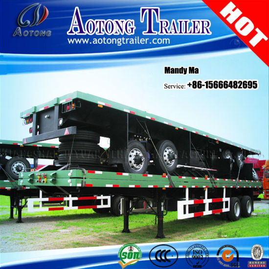 Tri-Axle 20FT 40FT Container Semi Trailer, Flatbed Truck Trailer pictures & photos