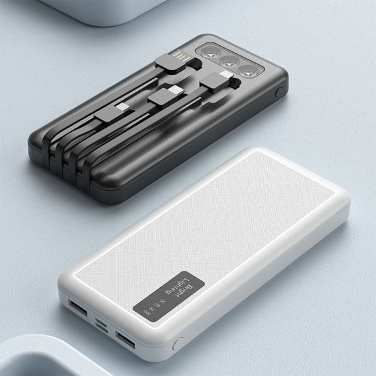 Multi-Function 4 in 1 Cable USB Type-C iPhone Android LED Light Power Banks 12000mAh Fast Charging Mobile Charger
