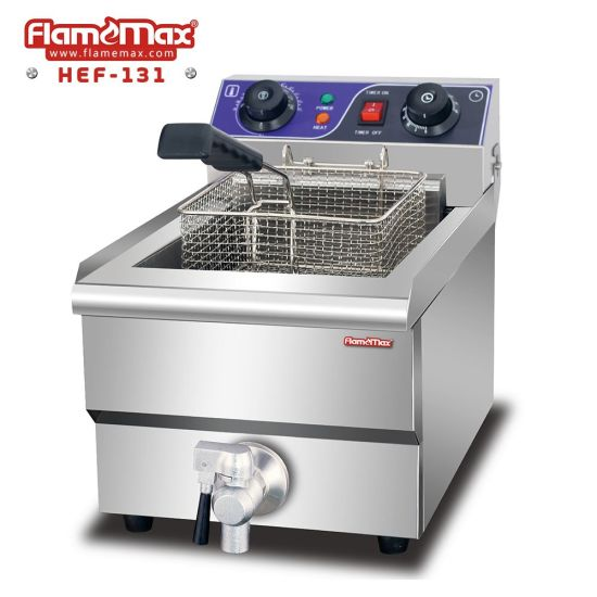 CE Approval 1 Tank 1 Basket Commercial Countertop Electric Deep Fryer with Tap