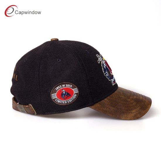 ad5f8da3d4a58 China Wholesale 6 Panel Structured Embroidered Gift Cap with Leather ...