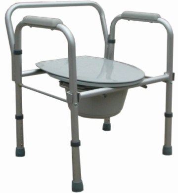 Commode Chair Aluminuml Frame Foldable Height Adjustable Toilet Potty Chair