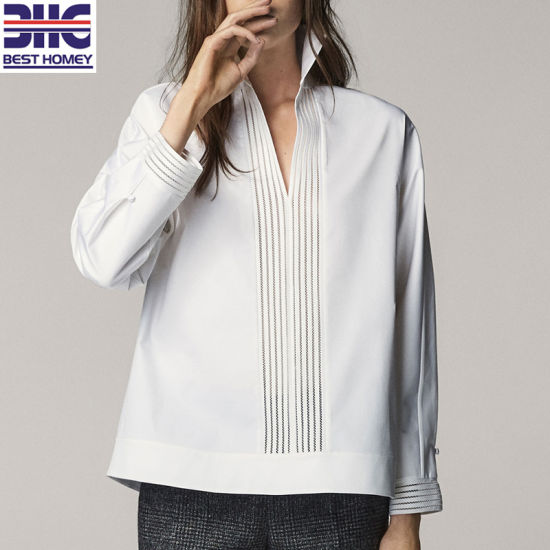 40c8ffd56ee Women′s White Long Sleeves Cozy Cotton V Neck Blouses Lace Design Fashion  Tops for Lady. Get Latest Price