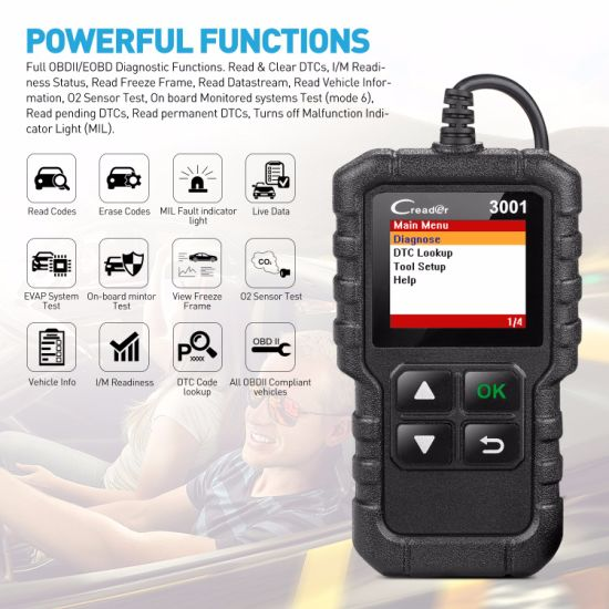 China Launch Cr3001 Full Obdii/Eobd Function Code Reader Elm327