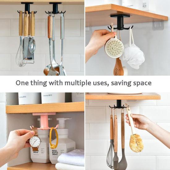 Under Shelf Rotate Hook Holder Hang Kitchen Cabinet Storage Rack Organizer Rack