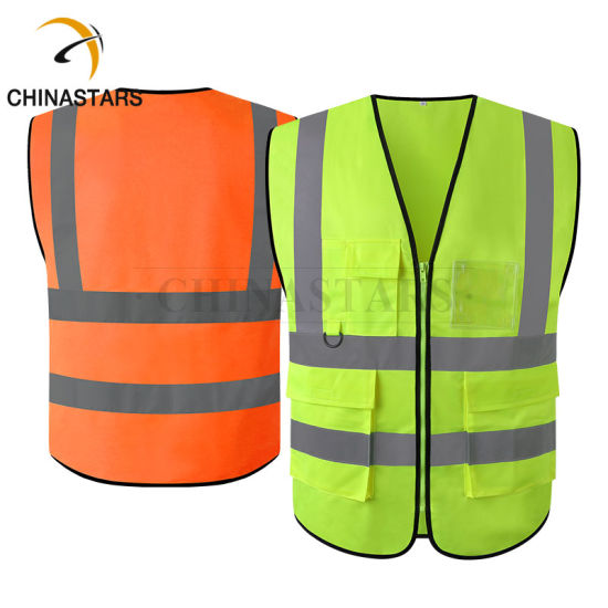 Reflective ANSI Class 2 Hi Vis Safety Vest with Pockets for Workers Wear